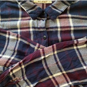 Maroon, blue and white flannel